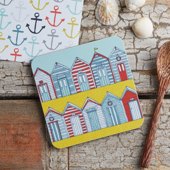 Beach huts melamine coaster illustrative kitchen products for Beach hut ideas