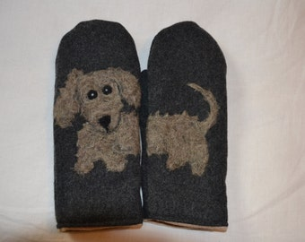 Wool mittens with felted wired haired dachshund