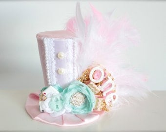 Alice in Onderland Inspired Mad Hatter Tea Party - Light Pink Mint White and Gold - Mini Top Hat Headband-Perfect First Birthday Photo Prop