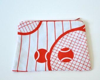 Tennis pattern zipper pouch