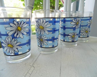 Juice Glasses - Daisy Design - Set Of 4 -Made In Indonesia