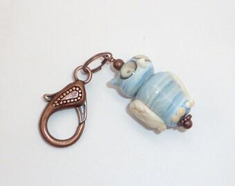 Lampwork Glass Owl. Purse Charm . Owl Key Chain