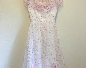 Vintage Dress, pretty in pink 80s prom dress, sweetheart dress, tacky party dress, ugly bridesmaid dress