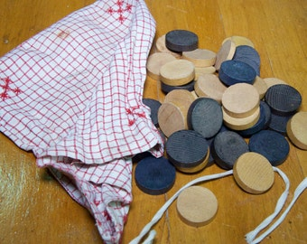 Vintage French Linen Checkers Set