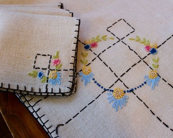 Vintage Linen Tablecloth 4 Napkins Hand Embroidered Flowers Pink Green Blue Yellow Topper Tea