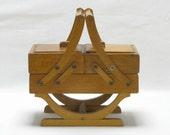 Small French Sewing Box, Miniature Sewing Box, Plant Pot Stand, French Sewing Box, Accordian Sewing Box, Folding Sewing Box, Craft Box, 4362