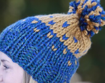 Knit Multi-colored Heart Hat