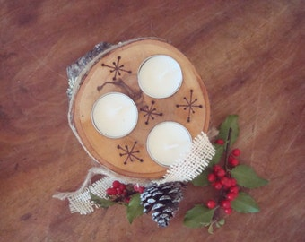 Holiday BIRCH TRIPLE tea light candle holder handmade  OOAK wood burned country candle