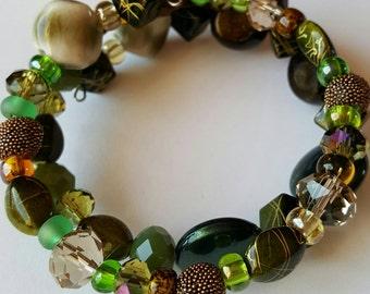 Wrap Bracelet, Glass, Multi Bead Bracelet