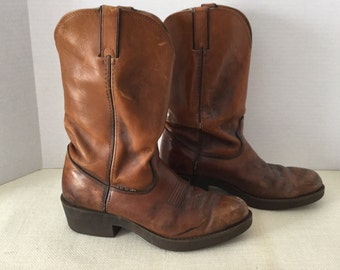 Vintage Leather Durango Cowboy Boots Brown on Brown Size 8 D