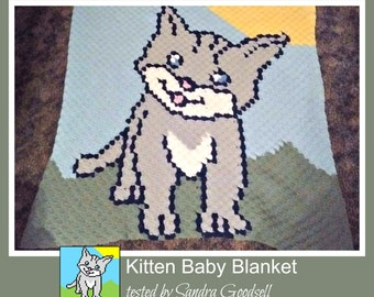 C2C Graph, Kitten Baby Blanket, C2C Graph, and Written Word Chart, Kitten c2c, Kitten graph