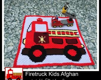C2C Graph, Firetruck Kids Afghan C2C Graph and Written Word Chart
