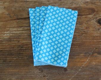 SALE! - Organic Cotton Blue/Turquoise Print Napkin Overlocked Edge - Set of 4,Eco Friendly