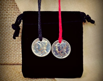 Silver Mercury Dime Pendant - hoodoo witch charm necklace lucky