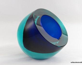 Murano Cenedese Sommerso Aqua & Cobalt Ash Tray by Antonio Da Ros  - Vintage 1950s - 1960s Murano Glass