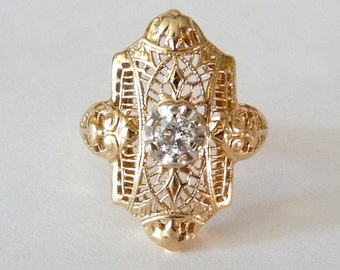 14k Diamond Ring Antique Filigree Fine Gold Jewelry Ring Size 6.5