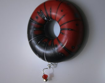 Polymer Clay Air Pendant - WEARABLE ART!!  Striped red and black