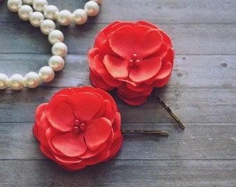 Red Bridal Flower Hair Pins, Red Hair Clip, Wedding Hair Piece, Headpiece, Bridal Hair Clips, Set of 2, Bridesmaid Accessory, Floral pin
