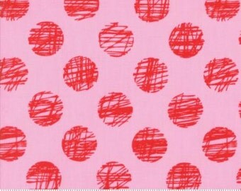 Hey Dot by Brigitte Heitland for Zen Chic & Moda - Sketched - Pink - Red - FQ - Fat Quarter - Cotton Quilt Fabric   816