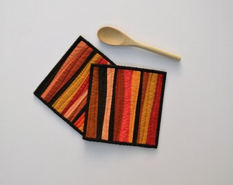 Fall Pot Holders, Quilted Pot Holders, Modern Kitchen Decor, Orange Pot Holders, Brown, Fall Decor