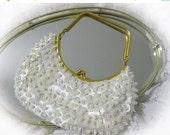 20% Heart Sale Vintage 60s White Bead Bag / Clutch Bridal Bag,Satin, Aurora Borealis Sequins Purse Hong Kong