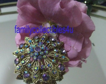 20% CIJ  AB Rhinestone and Gold Tone Flower Brooch