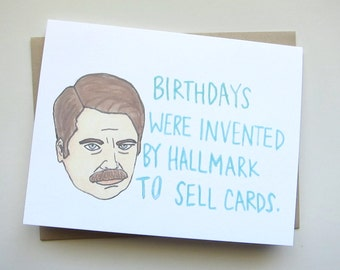 Birthday card ron swanson Etsy CA