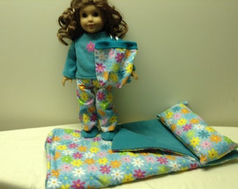 "18"" Doll Sleeping bag, pajamas, slippers and backpack set in multicolor daisies. American girl doll sleep set and matching accessories"