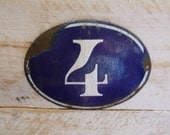 Antique French House Number 4 Oval Plaque Sign Blue and White Enamel