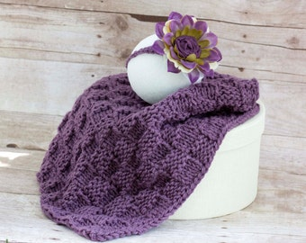 Mini blanket, newborn prop, baby headband, knitted basket stuffer blanket, purple flower headband, newborn photography, blanket head band