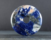 40mm Beautiful  large sodalite donuts, Reversible, Jewelry making supplies S6086