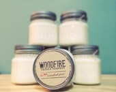 BRANDIED PEAR Wood Wick Mason Jar Soy Candle Gift Packaging, rustic candle