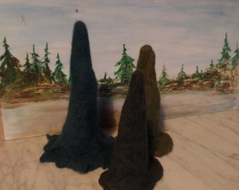 Felt-trees, Christmas trees, season table, conifers, spruce, three sizes, SEt
