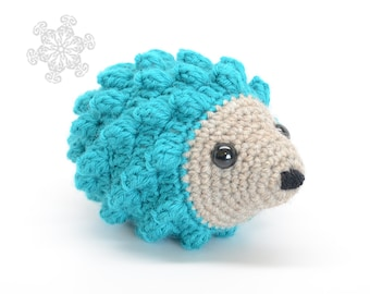 Bright Blue Hedgehog Crochet Stuffed Animal