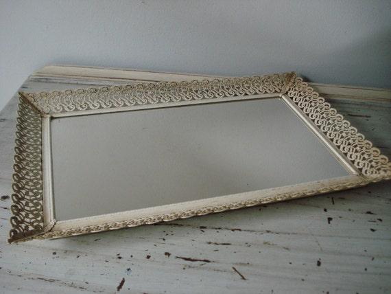 Vintage mirrored vanity tray decorative vanity tray for Decorative bathroom tray