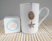 Tea Infuser / Free Shipping in USA / Starfish Charm/ Taupe Striated Marble Stone / U.S.A Made Charm / Gift Boxed