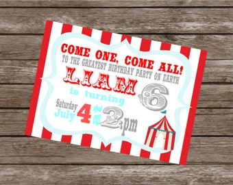 VINTAGE CIRCUS Happy Birthday Party or Baby Shower Invitations Set of 12 {1 Dozen} - Party Packs Available