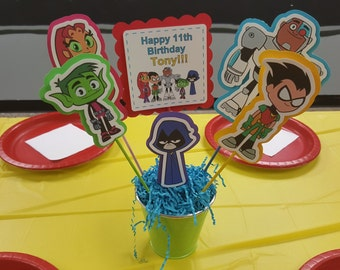 Teen titans go party decoration personalized centerpiece