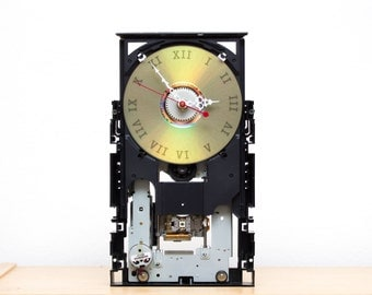 Wall / Desk clock - recycled Computer clock - DVD drive clock - ready to ship c5975