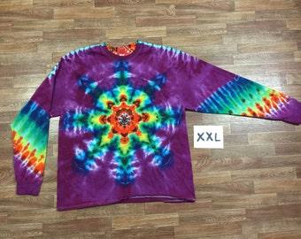 Rainbow Mandala With Raspberry Purple Background ~ i1601 in Long Sleeve Double Extra Large