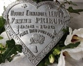 French Antique Memorial Plaque...Grave Plaque.....Nordic Living...Sacred Heart