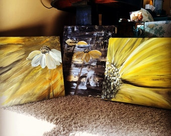 set of three metallic floral gold black silver yellow handmade canvas art artwork