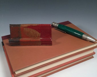 Pottery Business Card Holder - Ready to Ship - Red Jasper - desk organization - office organization - ceramics - pottery - stoneware
