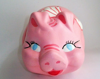 Vintage Piggy Bank Kitschy Collectible Large Pink Chalkware Bank Hand Painted 1960's