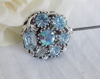 Hatpin Blue ab rhinestones upcycled vintage Steampunk Victorian Bridal