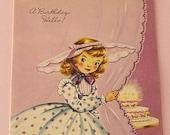 Vintage 1950s BIRTHDAY Card - Pretty SOUTHERN BELLE in Lavender - Unused + Envelope