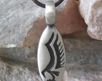 2 Tribal Thunderbird Pewter Pendants Oval bird eagle totem 44.5 MM Large Bail 2 Pieces