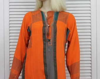 Vintage Hippie Caftan 1960s Orange Robe Lounge Wear