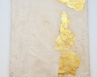 Modern contemporary gold white painting on wood G12