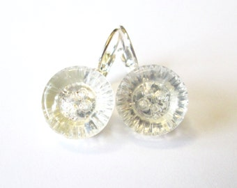 Vintage button earrings, crystal clear glass buttons, silver lever backs